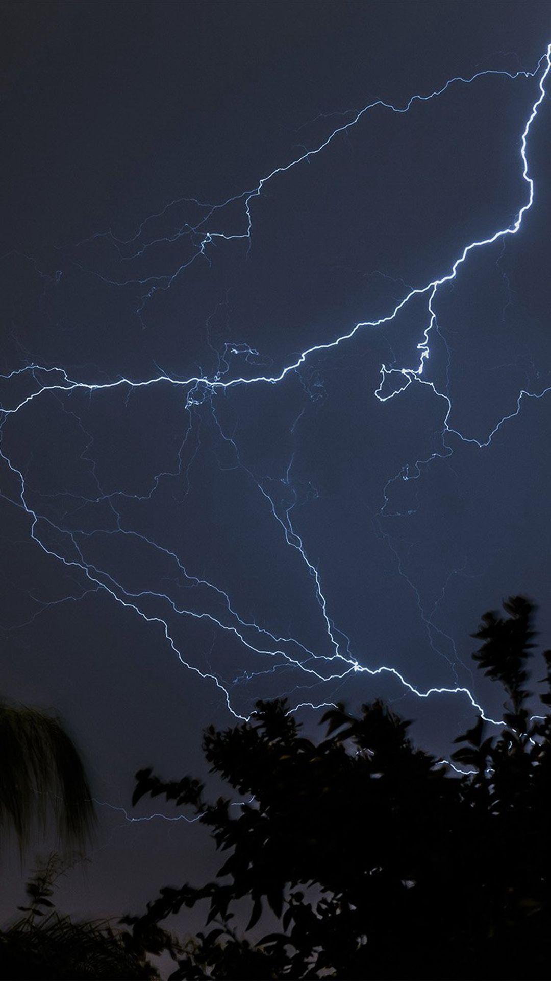 Thunder Bolt Sky Night Dark iPhone 6 plus wallpaper