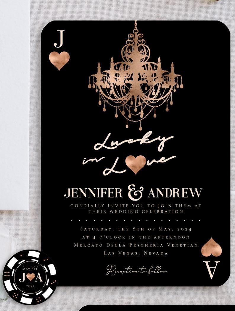 Fun Las Vegas Themed Wedding Invitation Suite Lucky In Etsy Vegas Themed Wedding Themed Wedding Invitations Vegas Themed Wedding Invitations