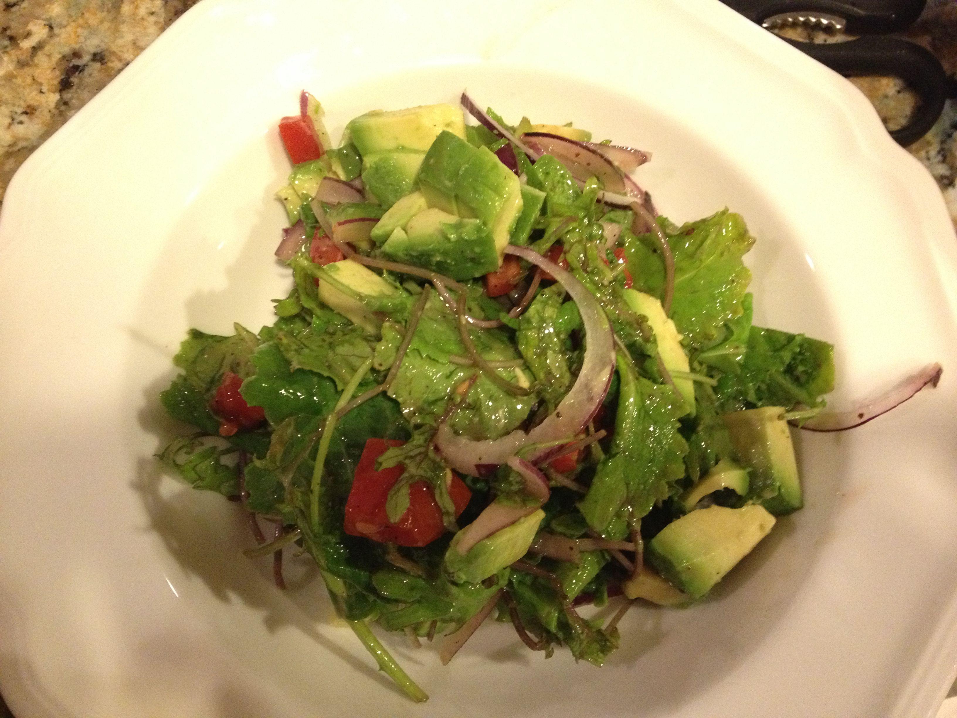 Organic Baby Kale Salad with Raspberry Vinaigrette, Red Onions, Avocado and Vine Ripe Tomatoes