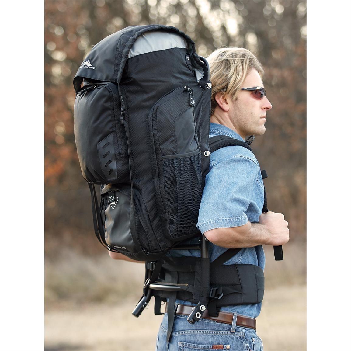 high sierra 65 liter external frame pack black