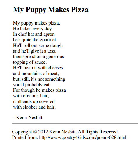 my dog ate my homework poem kenn nesbitt