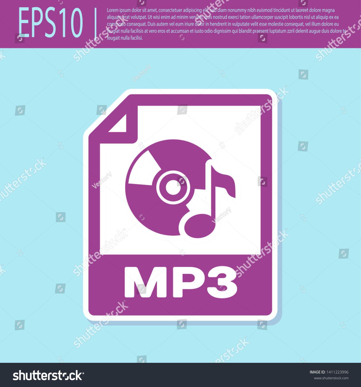 Retro purple MP3 file document icon. Download mp3 button