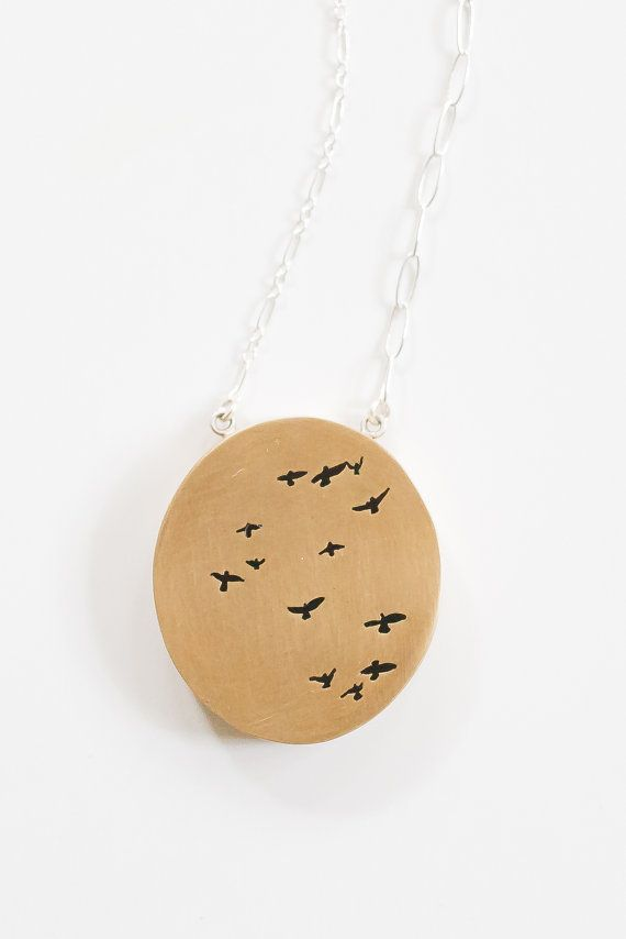 Flock of birds shadowbox pendant necklace in brass with contrasting flock of birds shadowbox pendant necklace in brass with contrasting sterling silver chain aloadofball Images