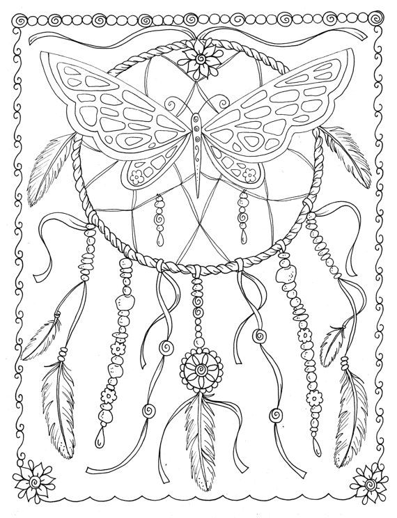 Butterfly Dreamcatcher Coloring Page Instant Download Digital File Stamp Adult Digi Fantasy Butterflies
