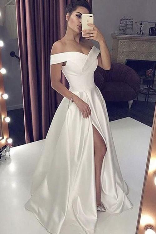 Satin Simple Wedding Gown Dress with Off-the-shoulder ...
