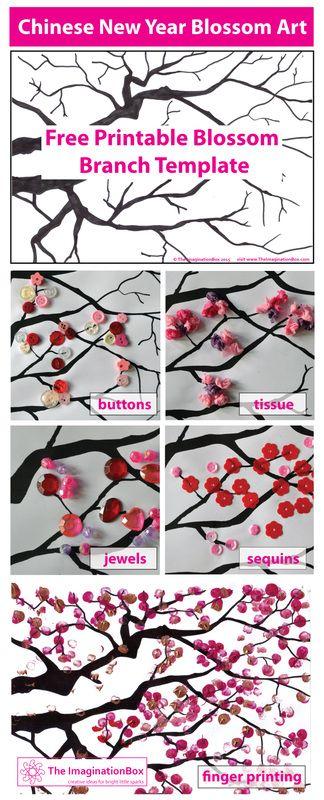 Chinese New Year Cherry Blossom Art New Year Art Chinese New Year Crafts