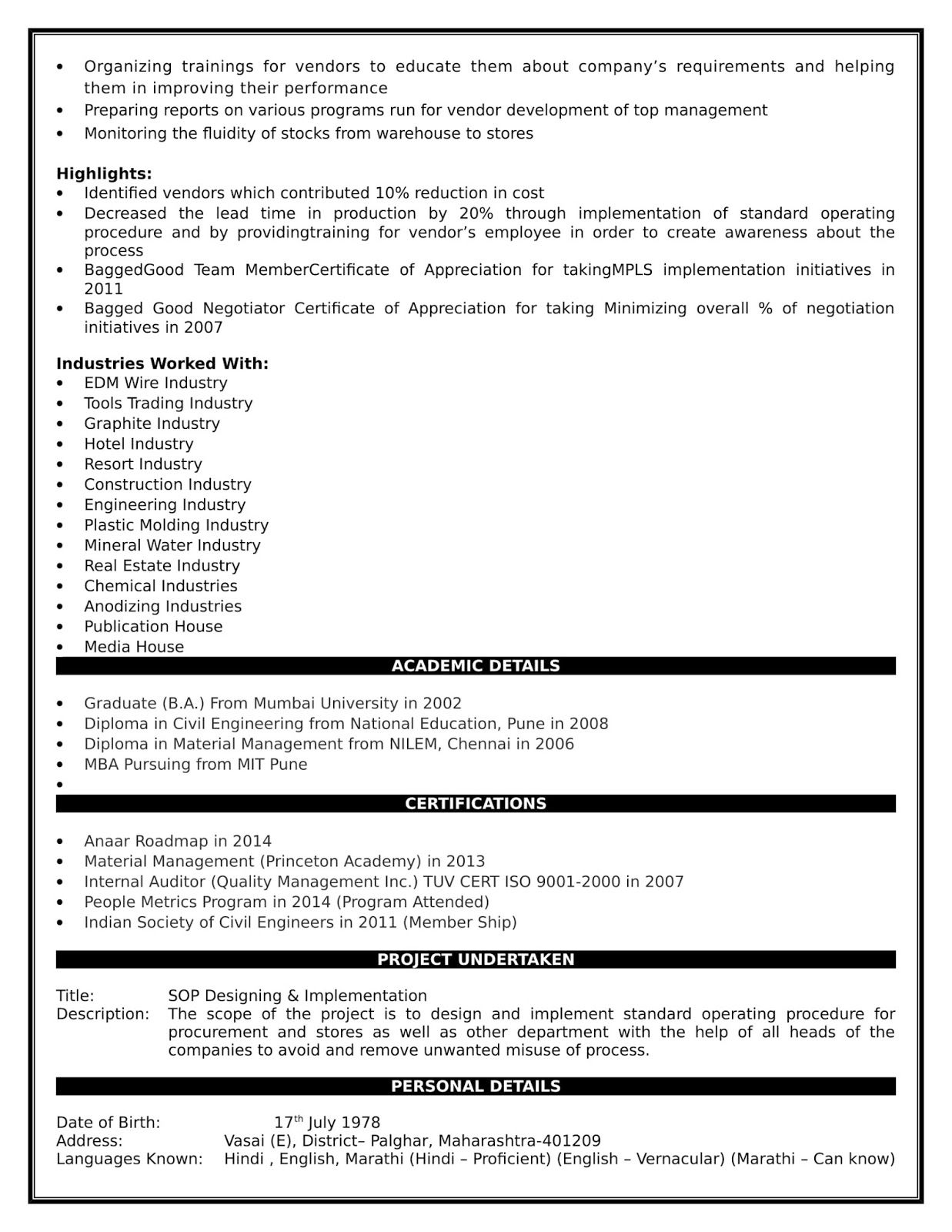 Bimlendra Jha Resume For Purchase Management Management Operations Management Purchase Manager