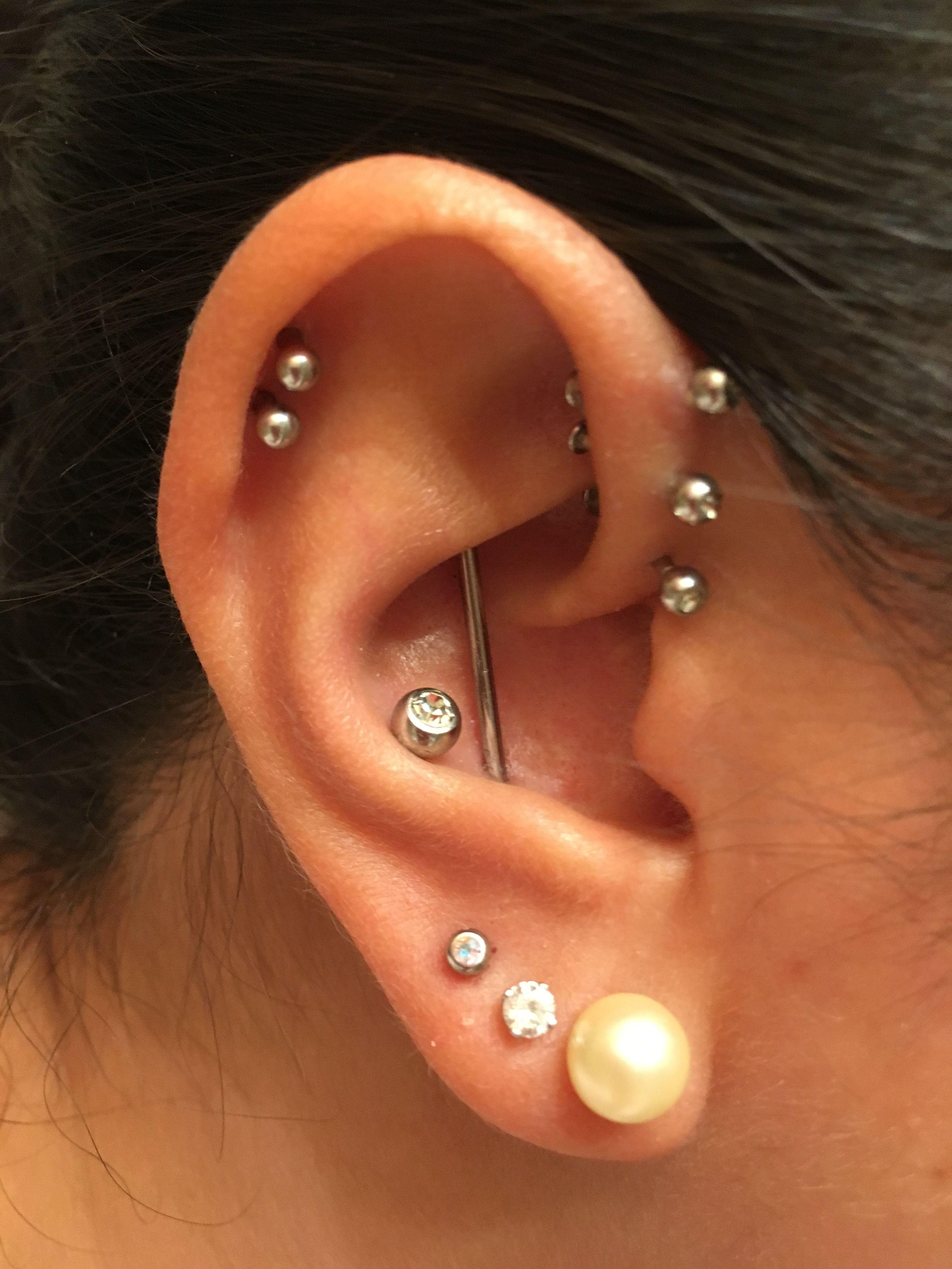 My Piercings 3 Lobes Conch Double Cartilage Conch Industrial Triple Forward Helix Bar Ear Piercing Piercings Body Piercings