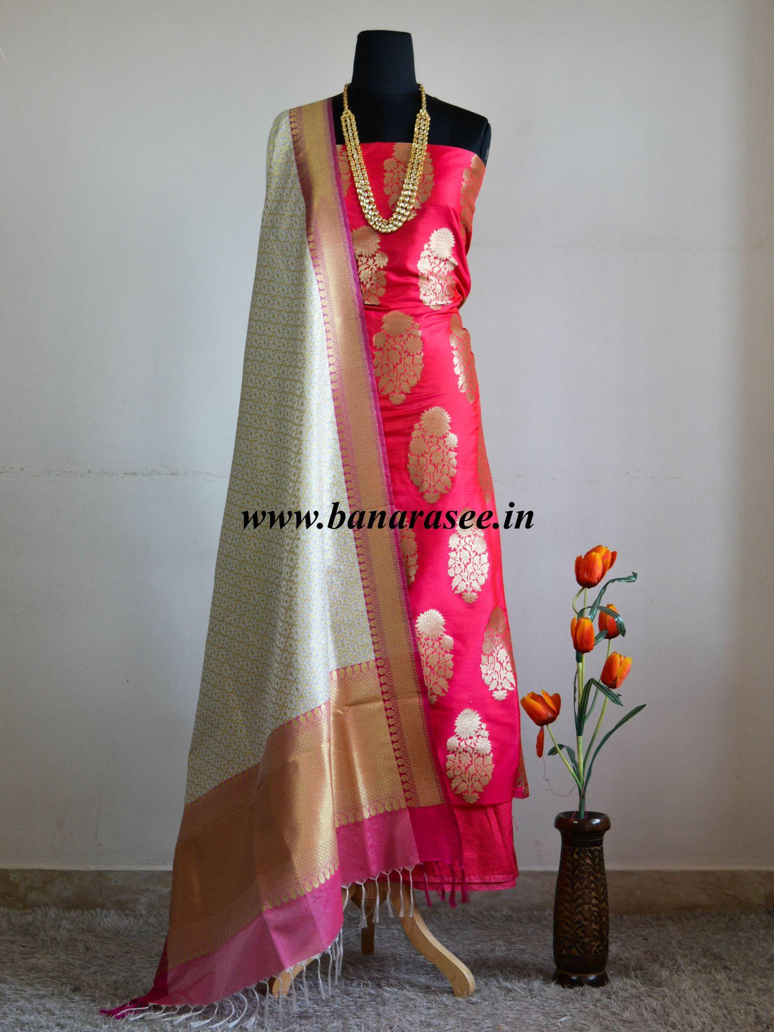 386f7162803111 Banarasee Banarasi Salwar Kameez Semi Katan Silk Zari Buta Work Fabric With Contrast  Dupatta-Fuchsia