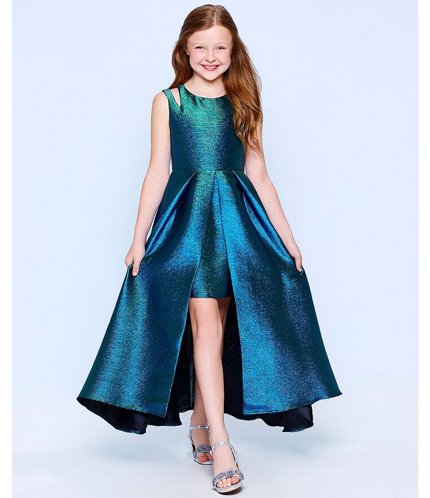 Tween Diva Big Girls 7-16 Double-Strap Metallic Brocade Dress