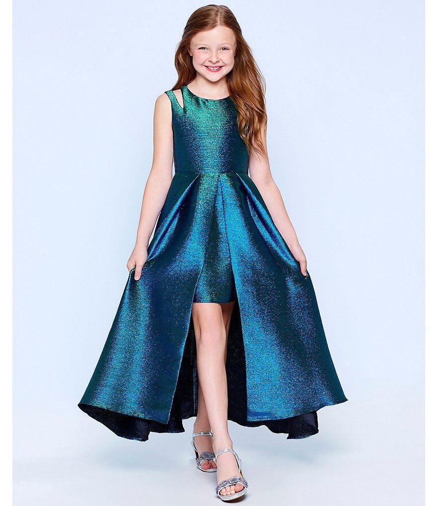 9cbf879c7a0 Teal Blue Tween Diva Big Girls 7-16 Double-Strap Metallic Brocade Dress