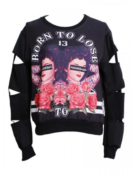 Mirror Character Print Sweatshirt with Cut Out Sleeve | Persun