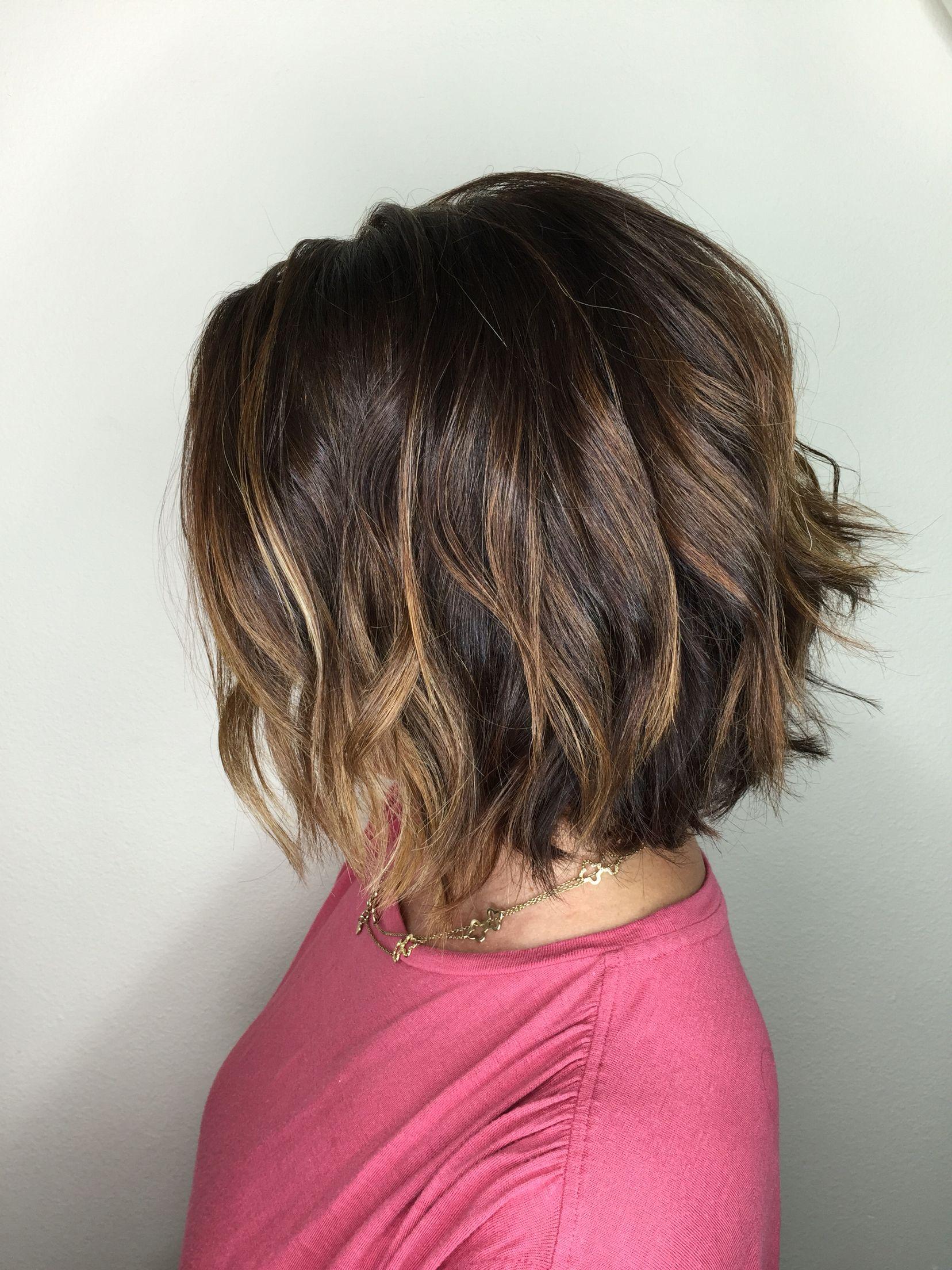 Warm Dark Blonde Balayage Short Beachy Hair Hair Beach Waves For Short Hair Short Hair Styles Beach Hair