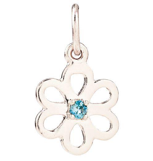 Birth Jewel Flower Charm With Blue Zircon