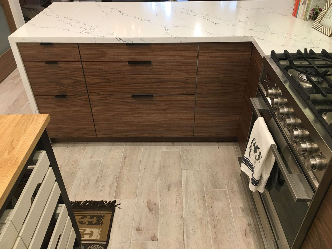 Mid Century Modern Kitchen Remodel Walnut Doors From Semihandmade Give This Ikea Kitchen A Mid