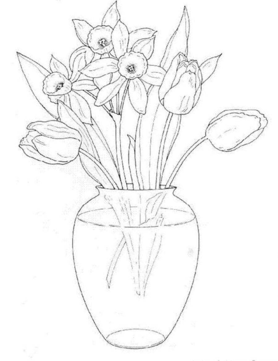 Tulips in flower bouquets coloring page photos plant at