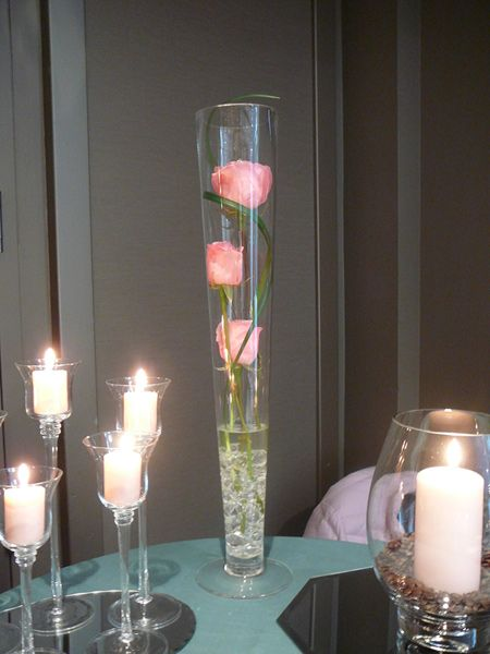 Pilsner vases centerpieces hot pink turquoise wedding