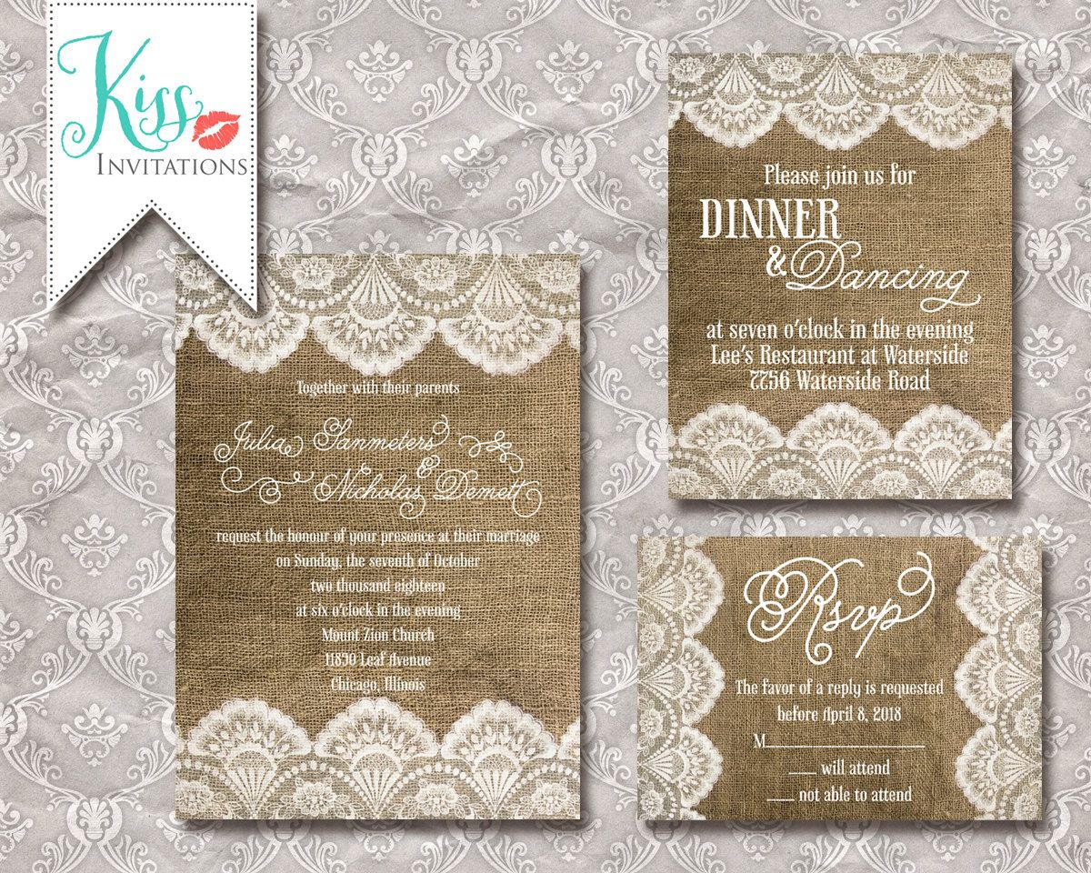 Sample burlap and lace wedding invitations by kissinvitations