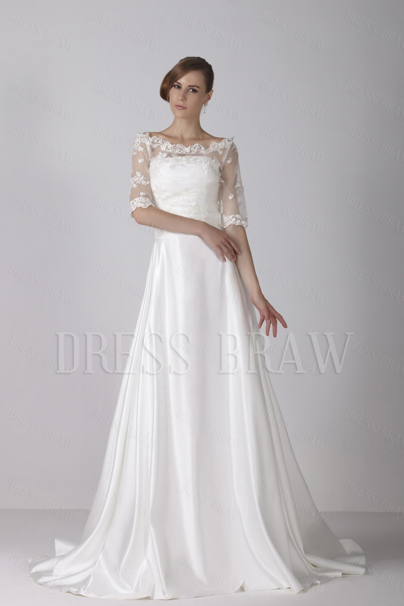 Fashion aline bateau wedding dress with lace jacket chapel train