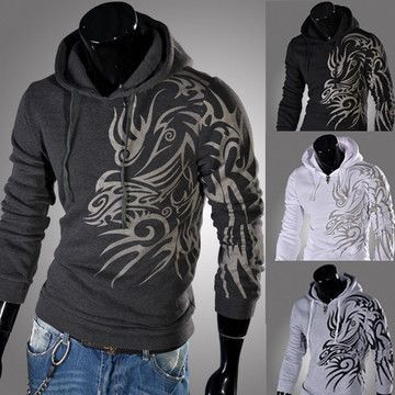 Mens tattooed graphic pullover hoodie for the stylish
