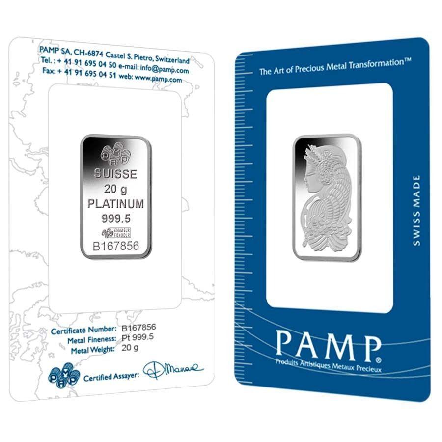 20 gram pamp suisse lady fortuna platinum bar 9995 fine