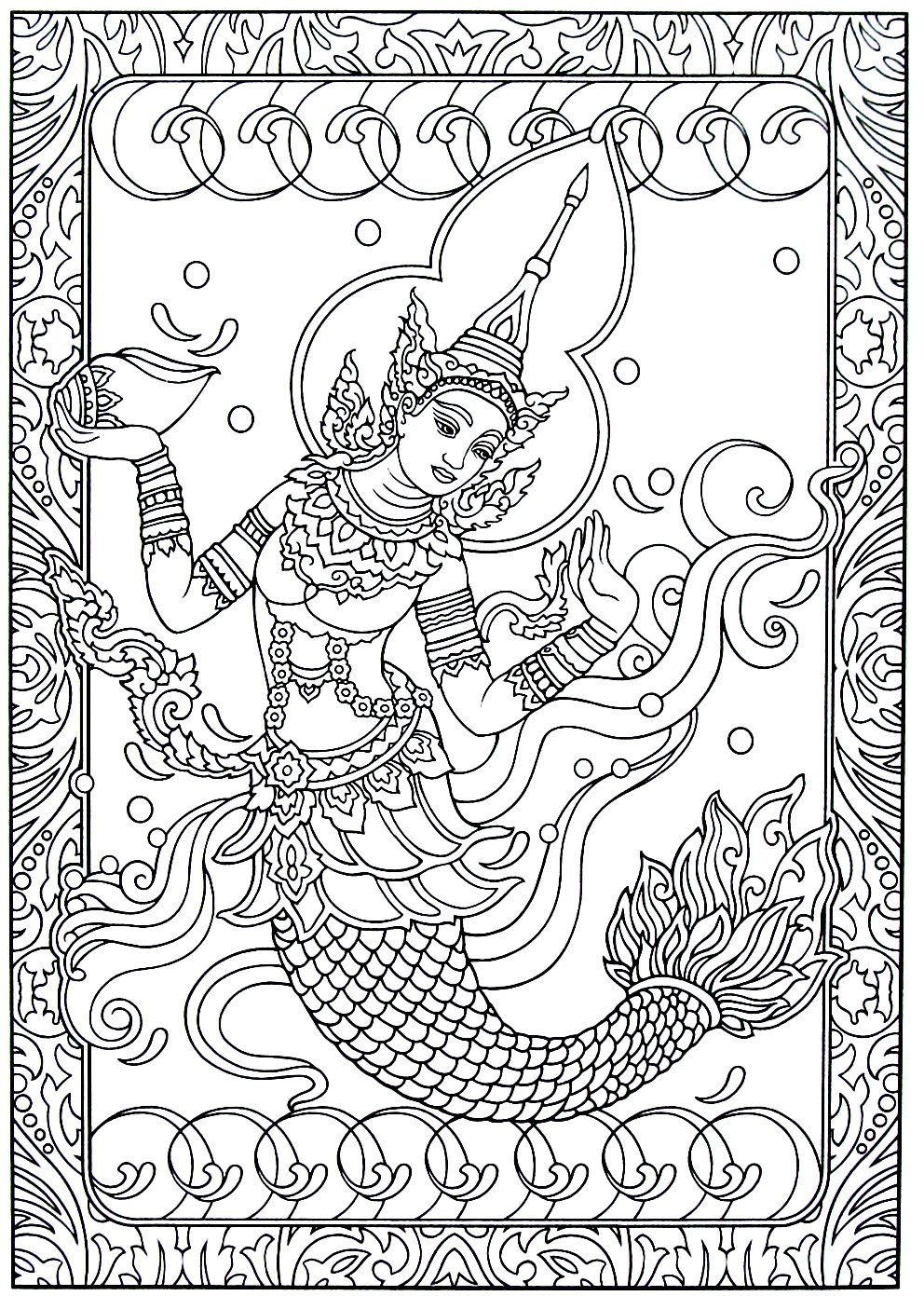 Mermaid Princess Supannamacha India And Thailand Culture Coloring Book Pages Animal Coloring Pages Coloring Books Coloring Book Pages