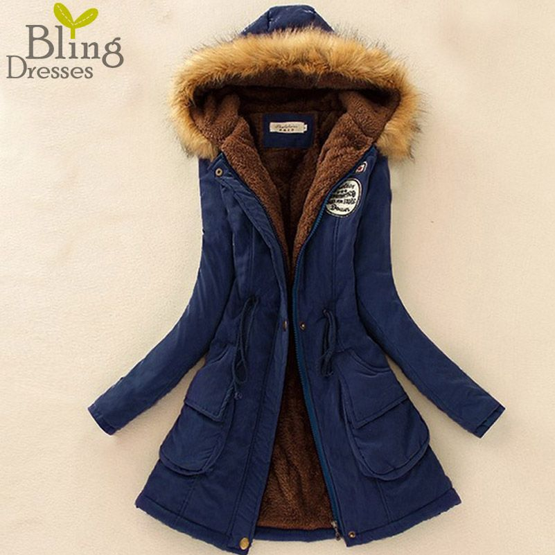 Women's Fur Collar Coats Jackets Long Slim Down Parka Hoodies Plus ...
