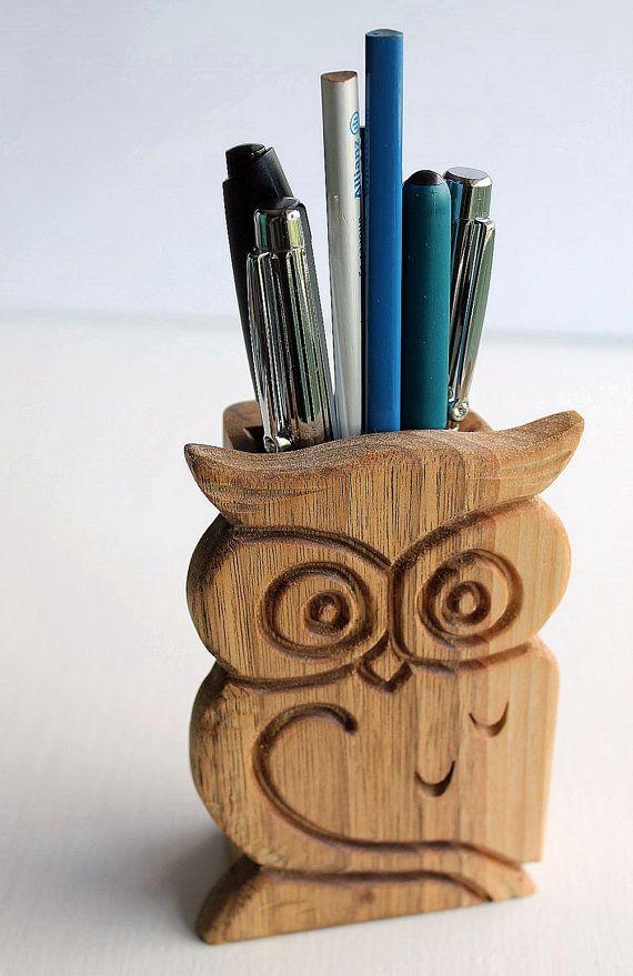 Wood Pen Holder Office Pen Organizer Christmas Gift Carved Owl
