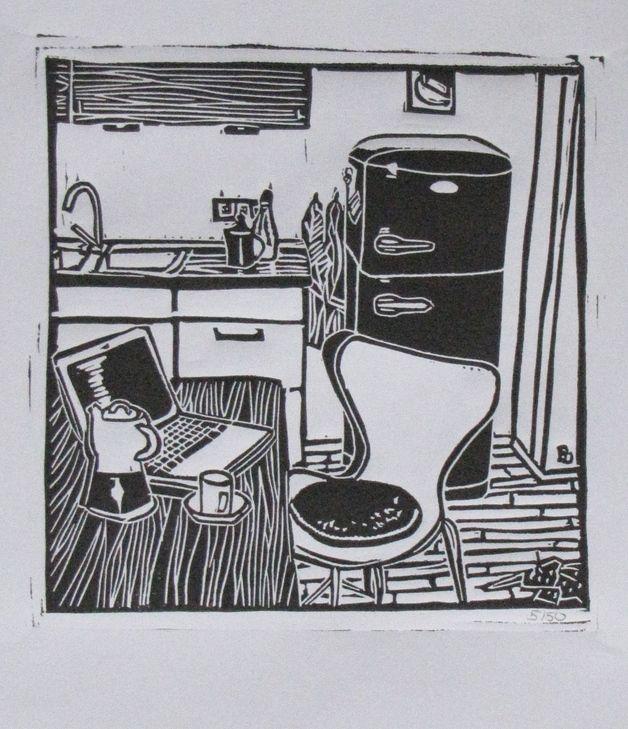 originaldruck linoldruck kaffeepause 50er auflage ein designerst ck von britta schoen bei. Black Bedroom Furniture Sets. Home Design Ideas