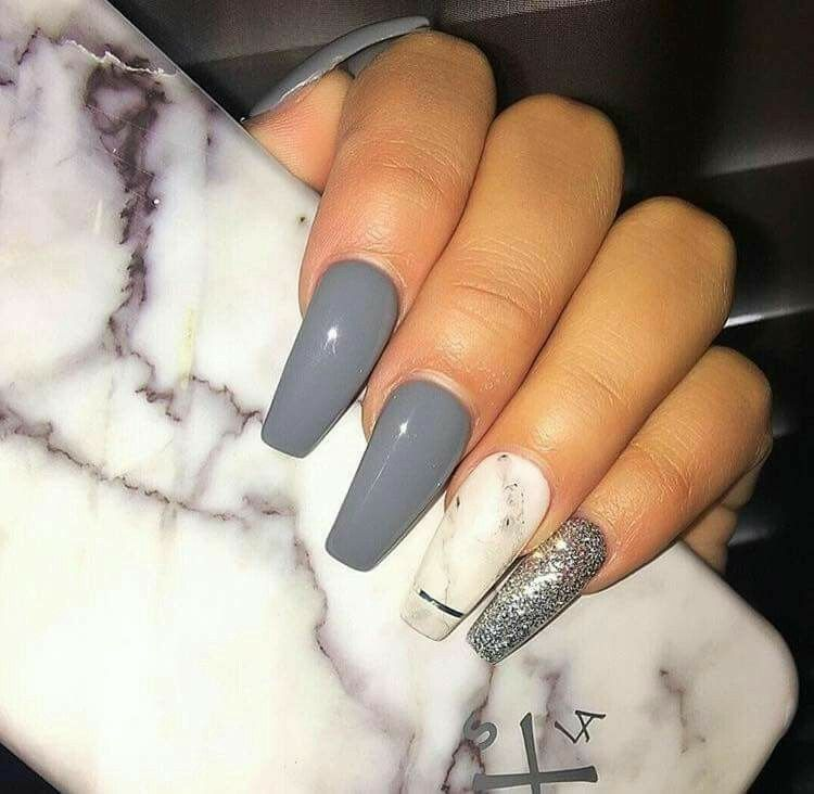 Tapered Square Nails. Long Acrylic Nails. Grey Nails. Marble Nails ...