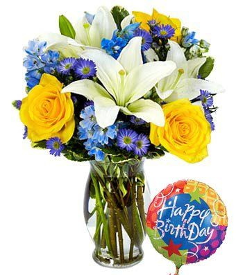 Rose And Lily Sunshine Bouquet With Birthday Balloon