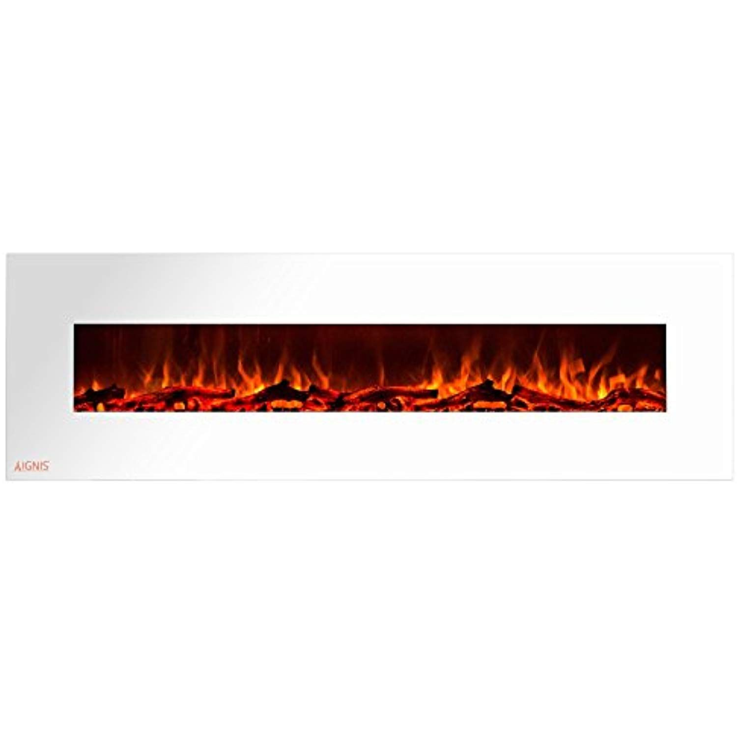Ignis Royal White 72 Inch Wall Mount Electric Fireplace With Logs