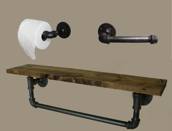 Superb Two Piece Combo   Toilet Paper Holder And Urban Industrial Shelf With Towel  Bar