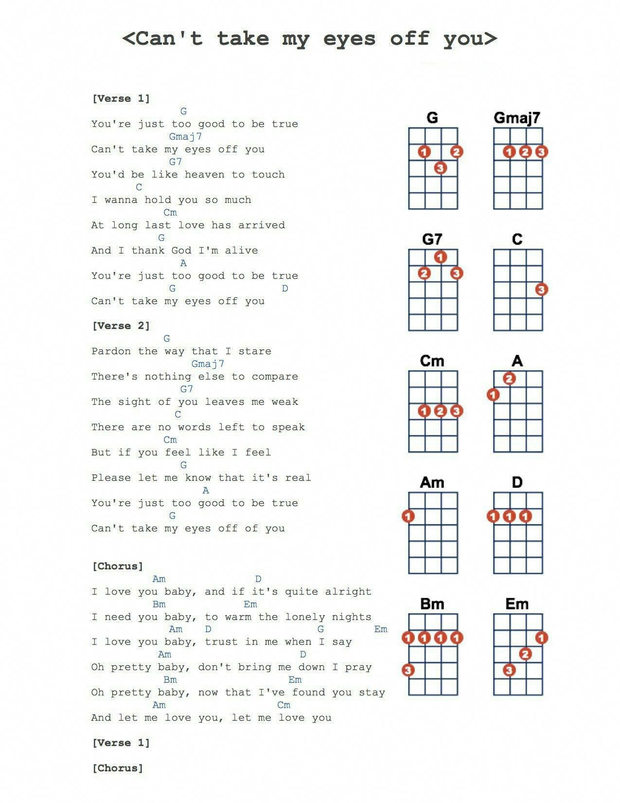 Can T Take My Eyes Off Of You With Images Ukulele Chords Songs