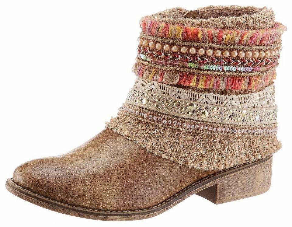 Vintage Boho Stiefelette Stiefel braun camel Größe 37 NEU