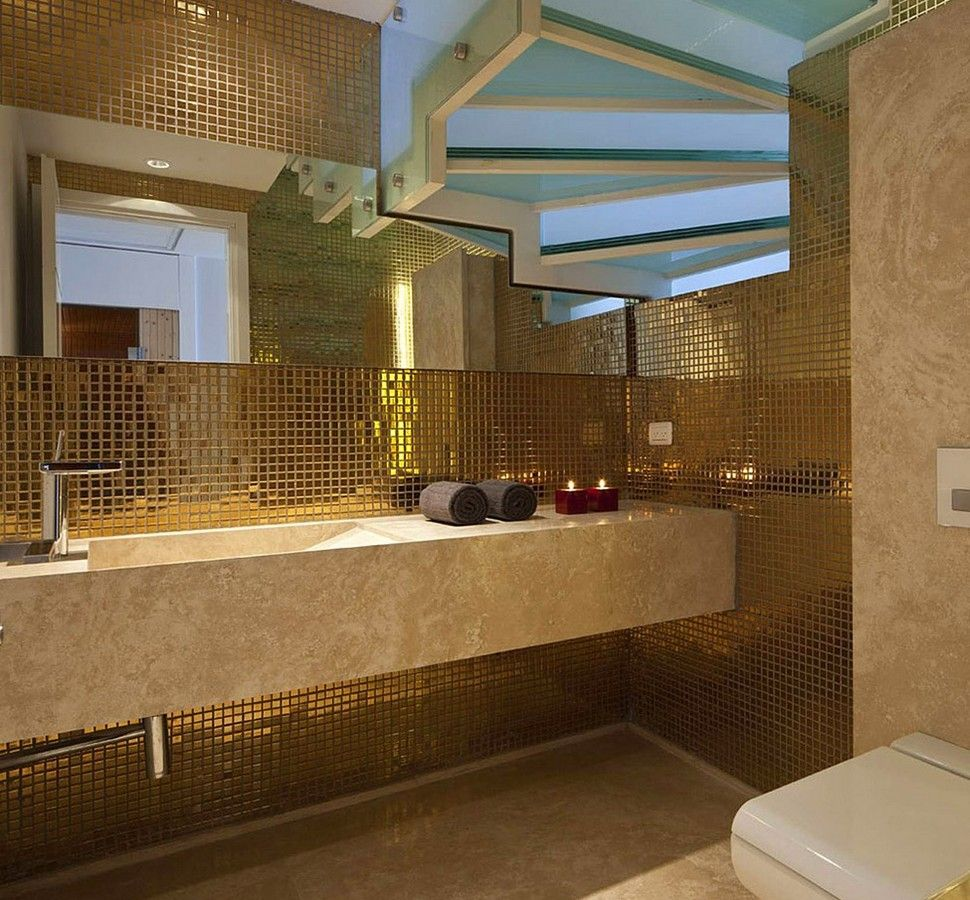 Luxury Bathroom with Gold Mosaic Tile Wall and Frosted Glass