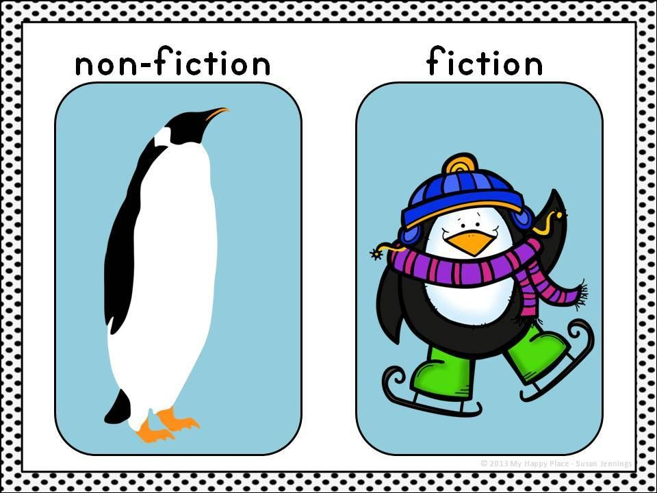 Fiction Non Fiction Mini Anchor Chart For Thematic Unit On Penguins In Kindergarten Or First G Kindergarten Writing Kindergarten Activities First Grade Reading