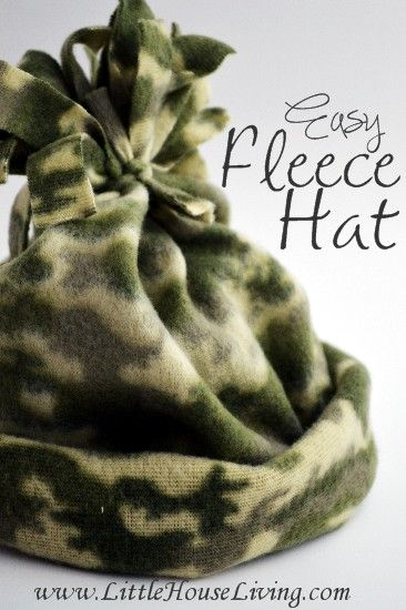 257b2f50f74a70 Easy Fleece Hat Pattern - Little House Living . . Just what i was looking  for - i may even make mine double.
