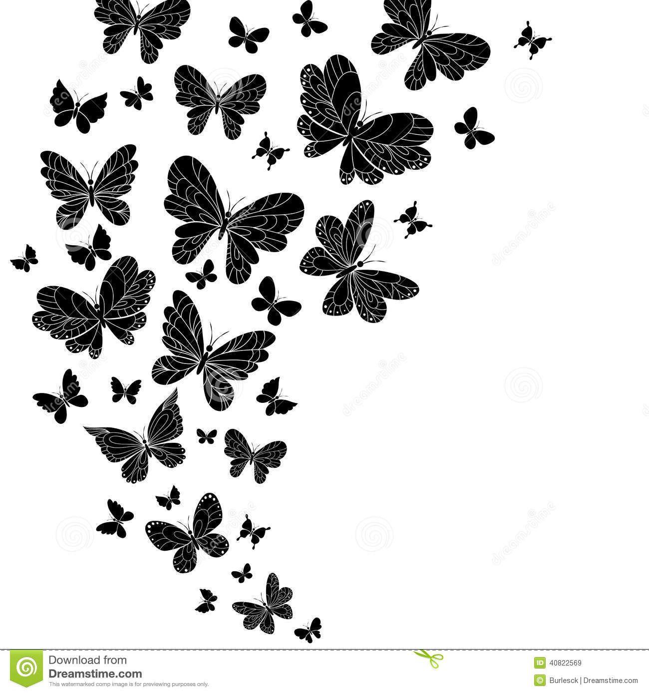 Butterflies flying silhouette