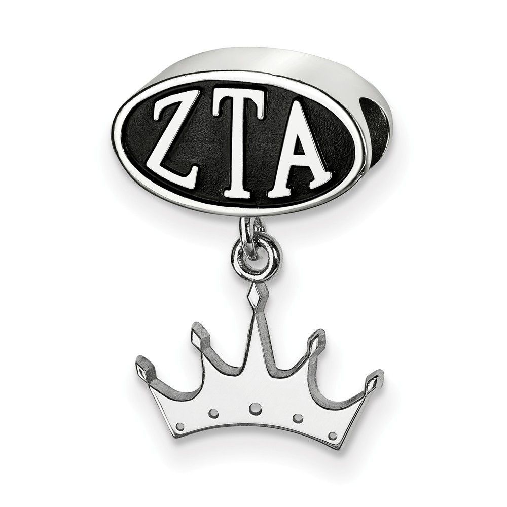 Sterling Silver LogoArt ZETA TAU ALPHA OVAL BEAD CROWN DANGLE