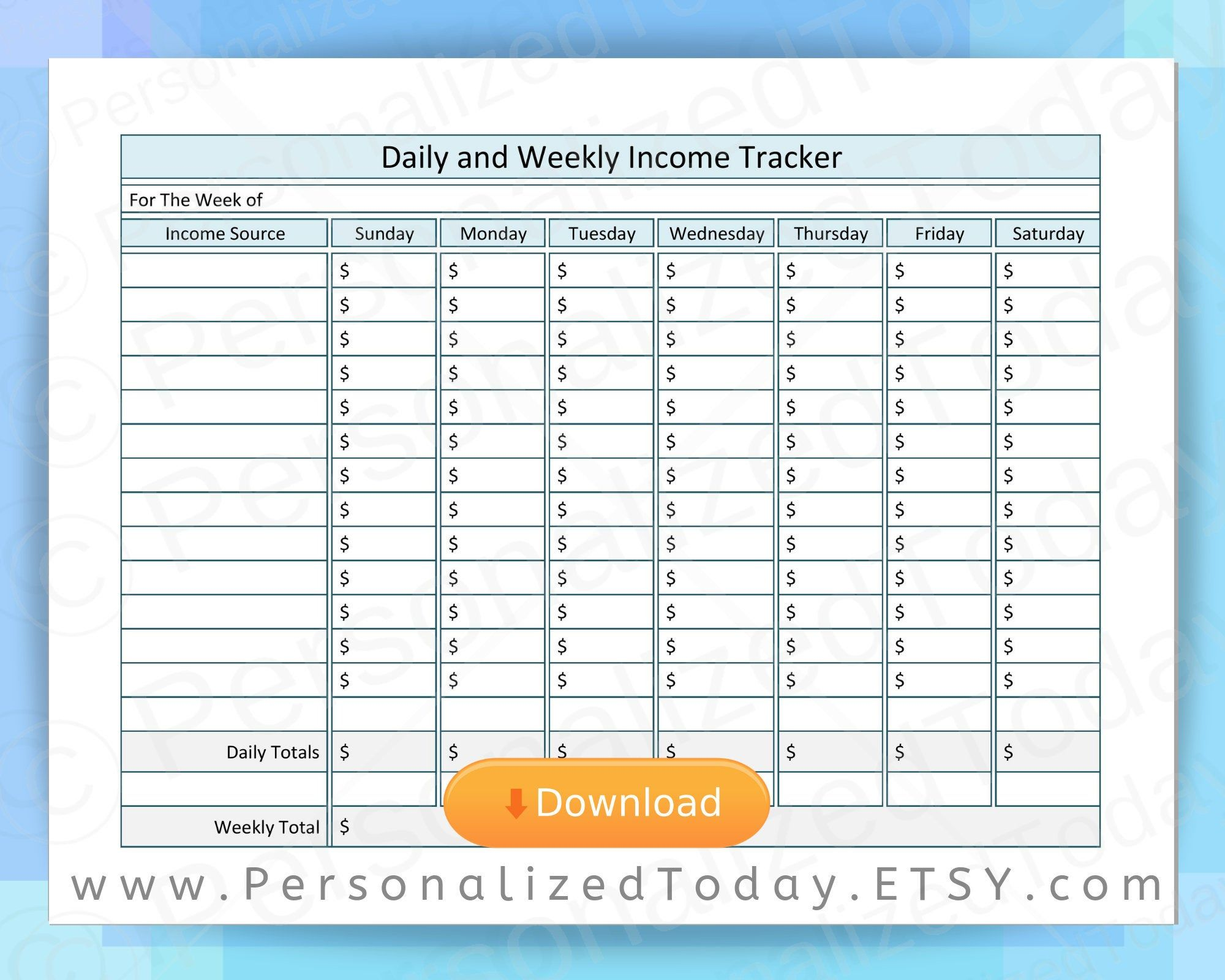 Daily And Weekly Income Tracker Job And Business Earnings