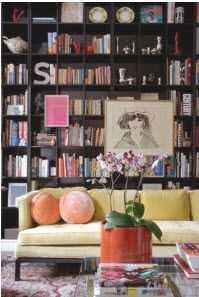 Love this floor to ceiling bookcase.