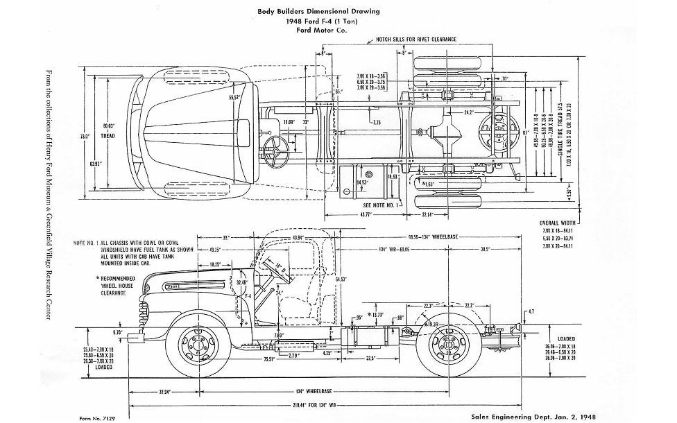 1948 Ford F 4 Body Diagram Photo 8 | truck dimension | Ford
