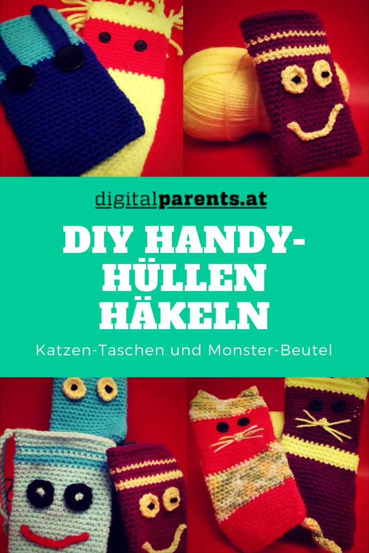 DIY Handyhüllen häkeln: Katzen-Taschen und Monster-Beutel ...