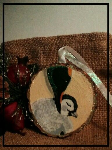Wood slice ornament by me, Emperor Penguin.