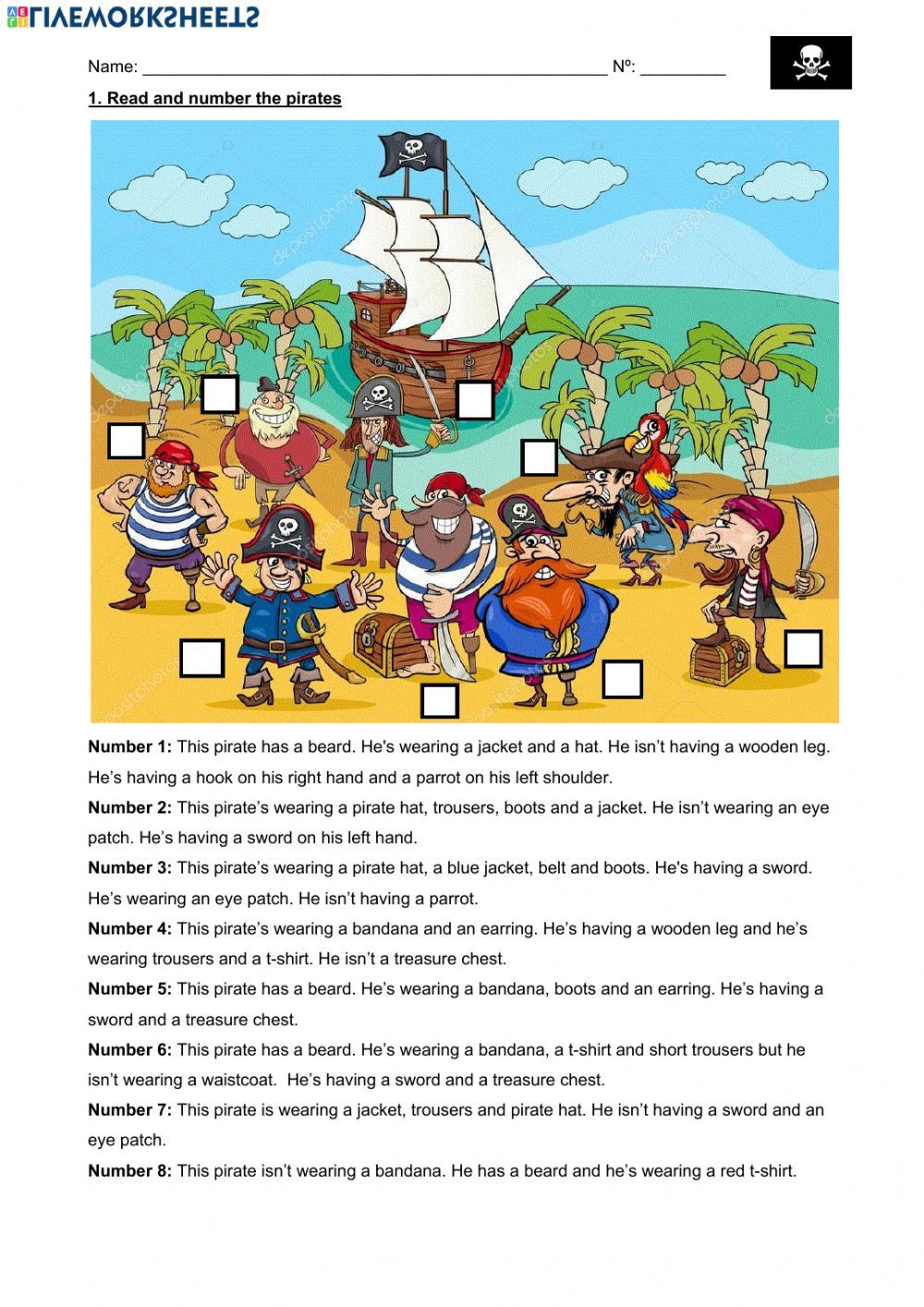 The Pirates Present Continuous Present Simple Interactive Worksheet Pirates Pirate Activities Esl Lessons [ 1414 x 1000 Pixel ]