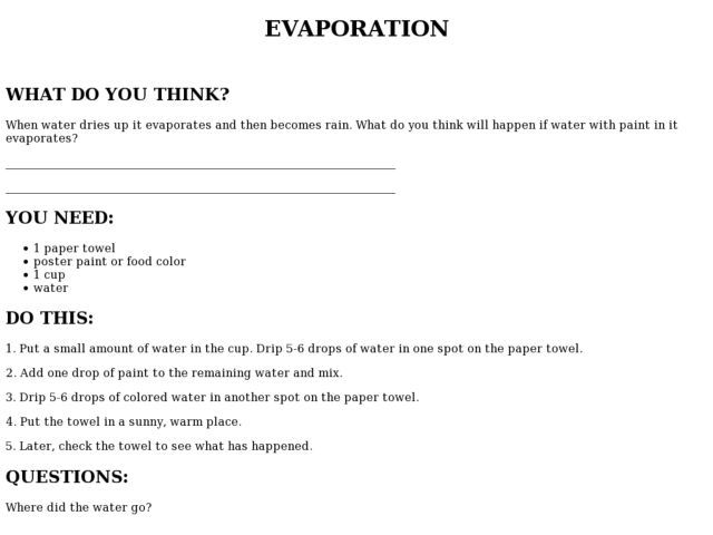 Evaporation Worksheet | Lesson Planet | Phases of Water ...