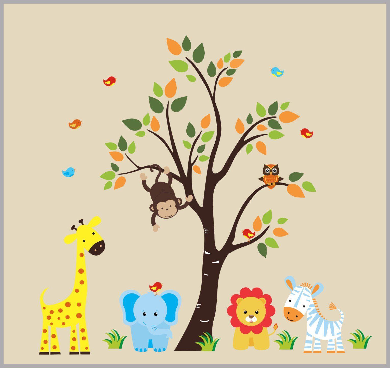 Safari animal nursery decor jungle animal wall decals large tree