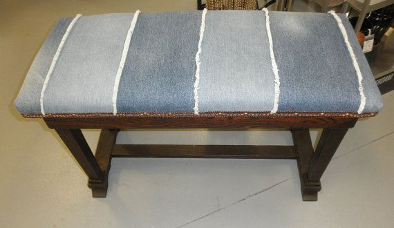 Antique piano bench upholstered in recycled denim