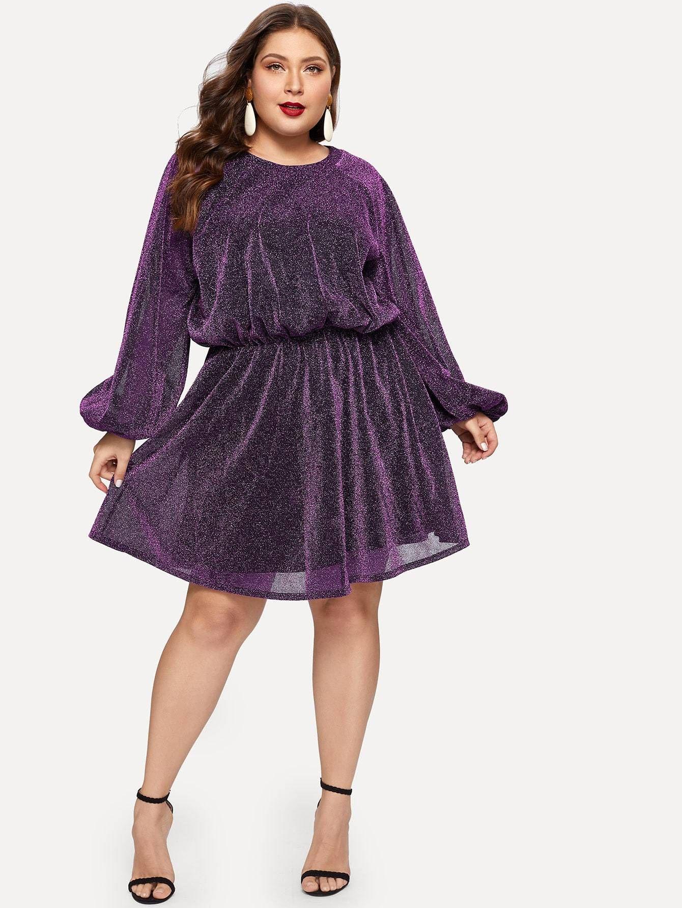 ef5d1bdd6e Plus Bishop Sleeve Split Back Glitter Mesh Dress - purple #ootd #onsale  #onlineshop #styleblogger #boutique #fashionblog #inspiration #chic  #boutiquefashion ...
